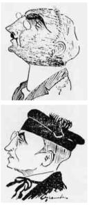 La caricatura di Calogero Cigna l'avvocato che lo difese al processo nel 1924, e (sotto) quella di Lilly Giarrizzo legale di parte civile, due dei protagonisti del dibattimento.