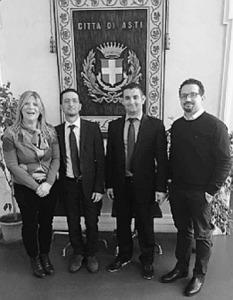Il sindaco Salvatore D'Anna ed il suo vice Rocco Corsaro con l'assessore astigiano Andrea Cerlato e il presidente del Consiglio Maria Ferlisi