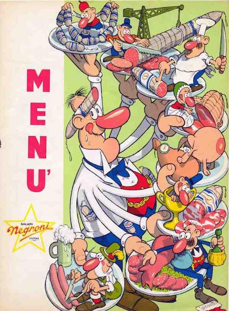 Menu disegnato da Benito Jacovitti per i salumi Negroni